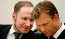Psychopathic killer Anders Breivik consults with his lawyer